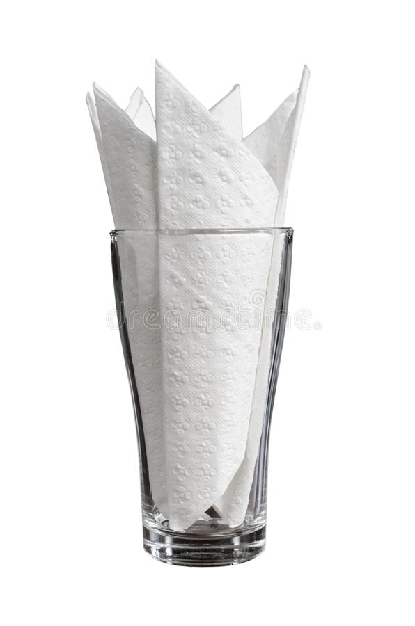 Restaurantgewebe-Serviettenpapier im Glas stockfoto