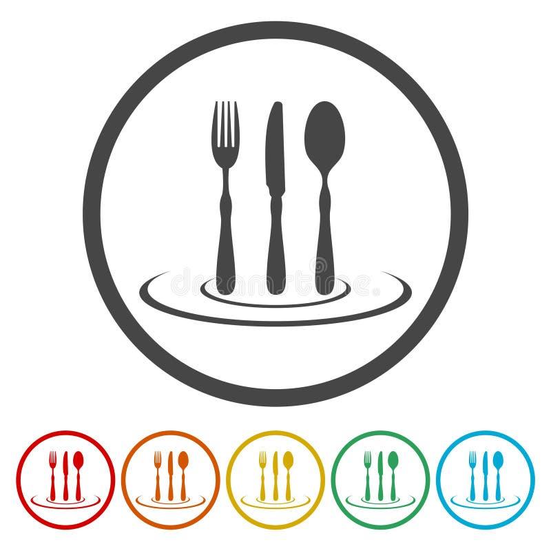 Restaurantikonenzeichen Flaches Design der Restaurantikone Restaurantikone für APP Restaurantikone für Logo vektor abbildung