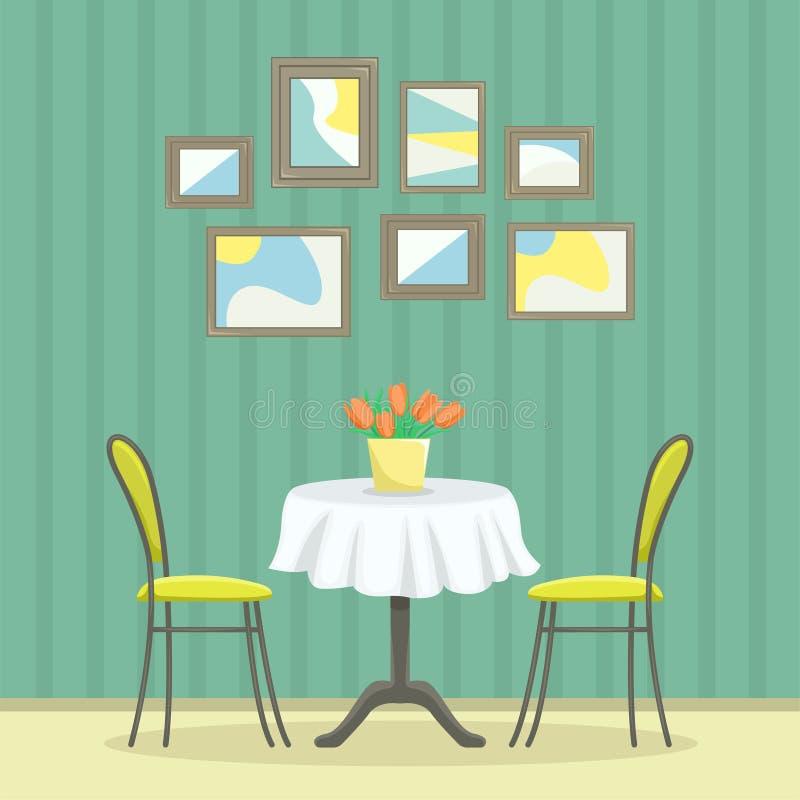 Restaurantinnenraum in der klassischen Art Tabelle mit Stühlen nahe der Wand mit Bildern stock abbildung