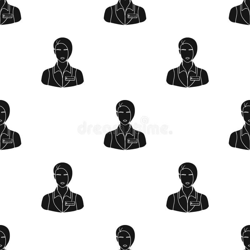 Restaurantkellnerin mit einer Ausweisikone in der schwarzen Art auf weißem Hintergrund lizenzfreie abbildung
