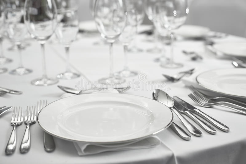Restaurantlijst setout royalty-vrije stock afbeelding