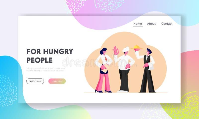 Restaurantmateriaal Beheerder Girl, Leider, de Karakters van de Mensenkelner Holding Tray, Mannelijk en Vrouwelijke in Eenvormige vector illustratie