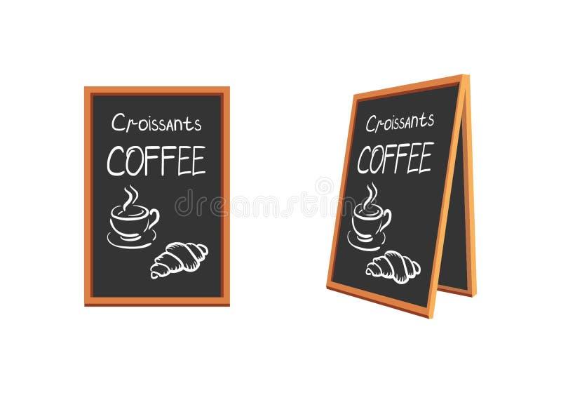 Restaurantmenü, das auf einem schwarzen Brett mit einem Holzrahmen isst und trinkt Ein Tasse Kaffee und ein Hörnchen lizenzfreie stockfotografie