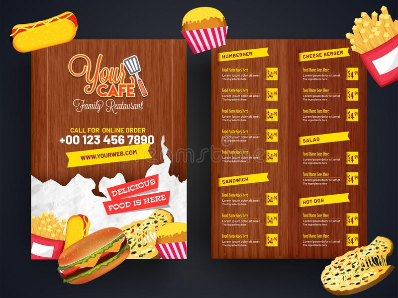 Restaurantmenü, Schablonendesign Lebensmittelflieger lizenzfreie abbildung