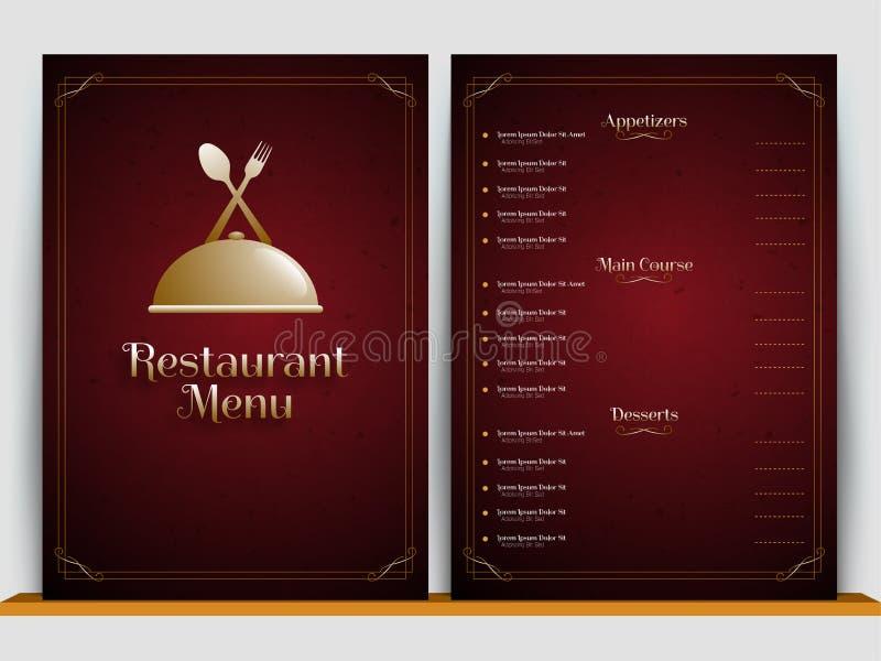 Restaurantmenü, Schablonendesign Lebensmittelflieger stock abbildung