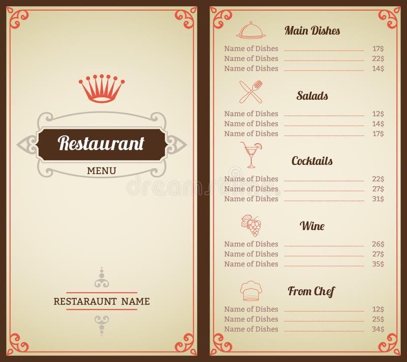 Restaurantmenüschablone lizenzfreie abbildung