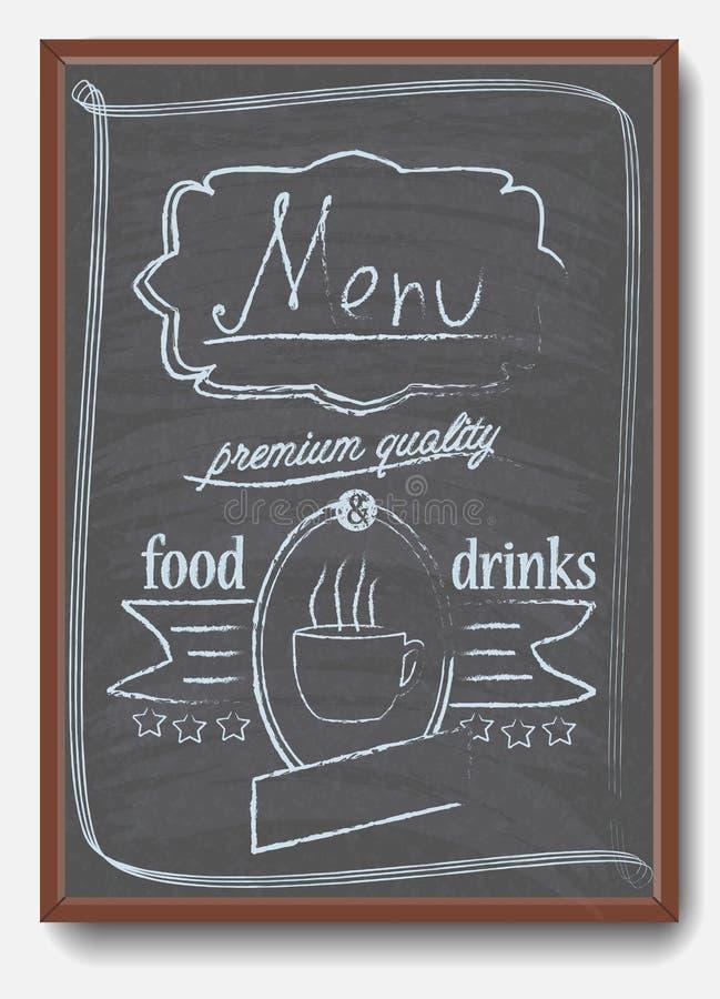 Restaurantmenu in bord wordt geschreven dat stock illustratie