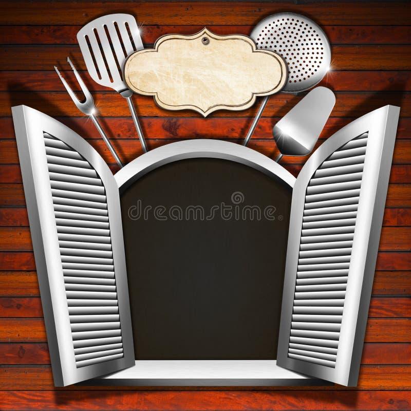 Restaurantmenu op Houten Wit Venster vector illustratie