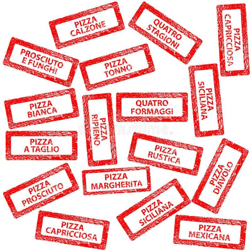 Restaurantmenu, rubberzegels met pizzatypes royalty-vrije illustratie