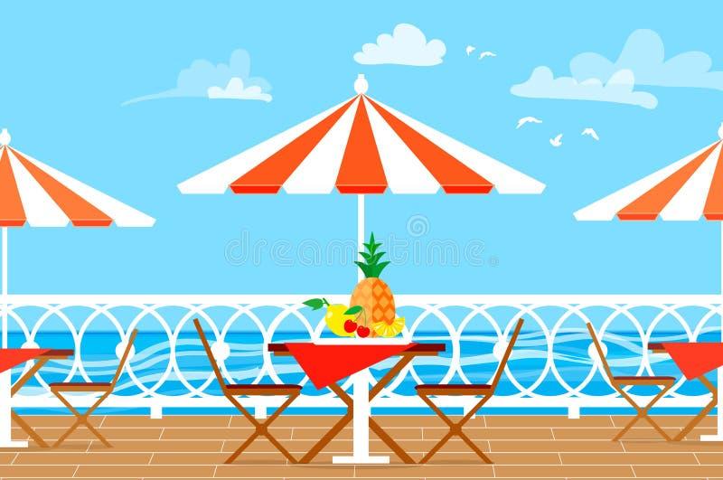 Restaurantpatio Picknick Stühle, Tabelle und Regenschirm auf Terrassenbalkon Eine Seebucht mit malerischen Bergen vektor abbildung