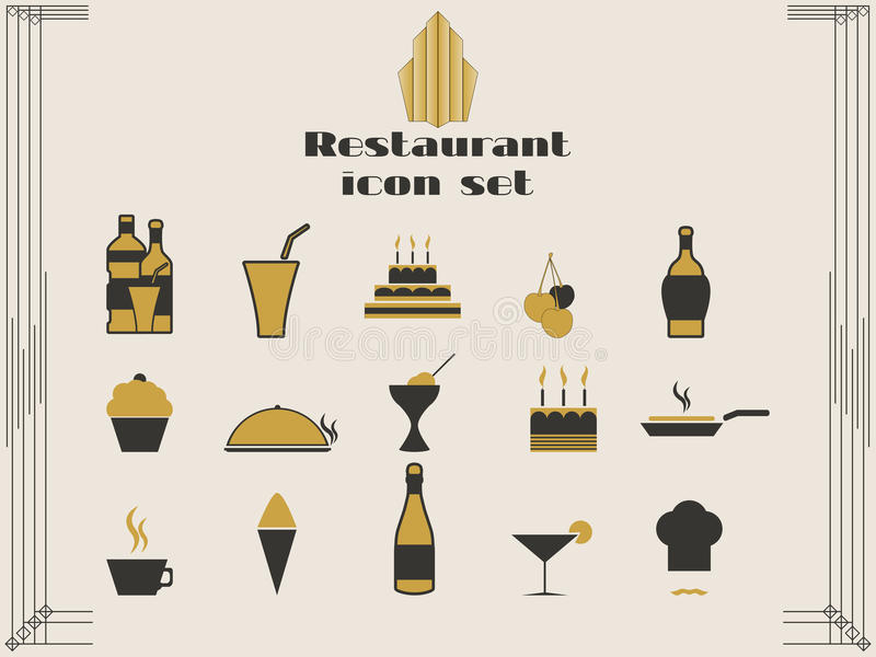 Restaurantpictogrammen in art decostijl Het koken en keukenpictogrammen royalty-vrije illustratie