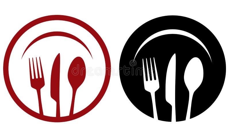 Restaurantpictogrammen met vork, mes, plaat royalty-vrije illustratie