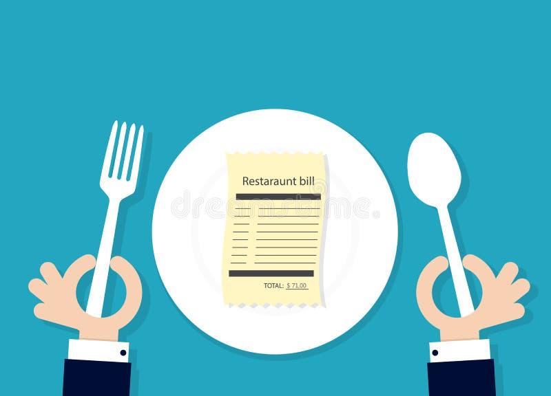 Restaurantrekening op plaat royalty-vrije illustratie