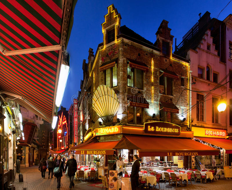 Restaurants in Brussels stock photography