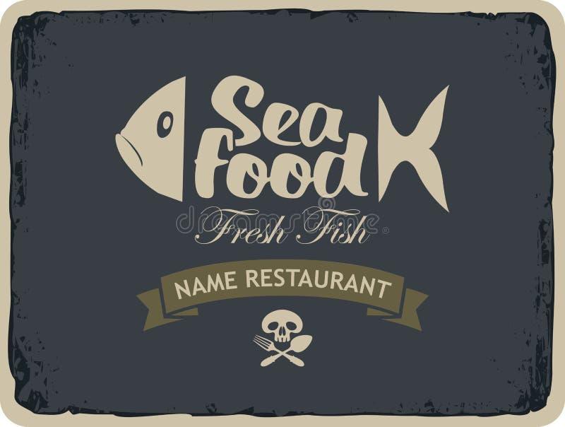 Restaurants de fruits de mer avec des poissons illustration stock