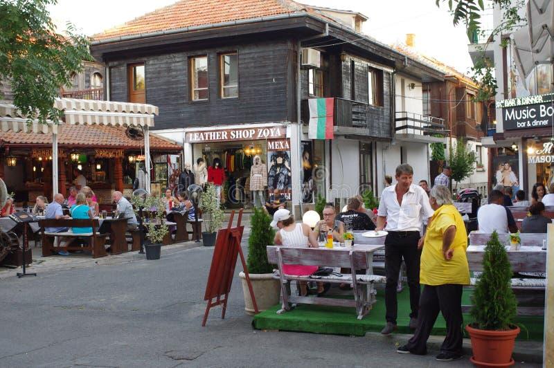 Restaurants in den Badeorten Nesebar lizenzfreies stockfoto