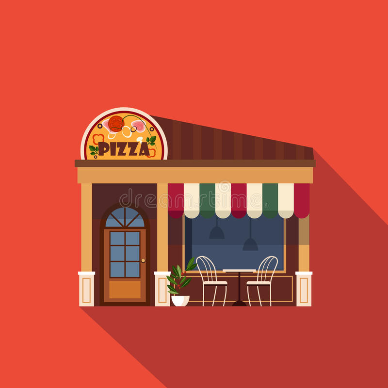 Restaurants en winkelsvoorgevel, storefront vector stock illustratie