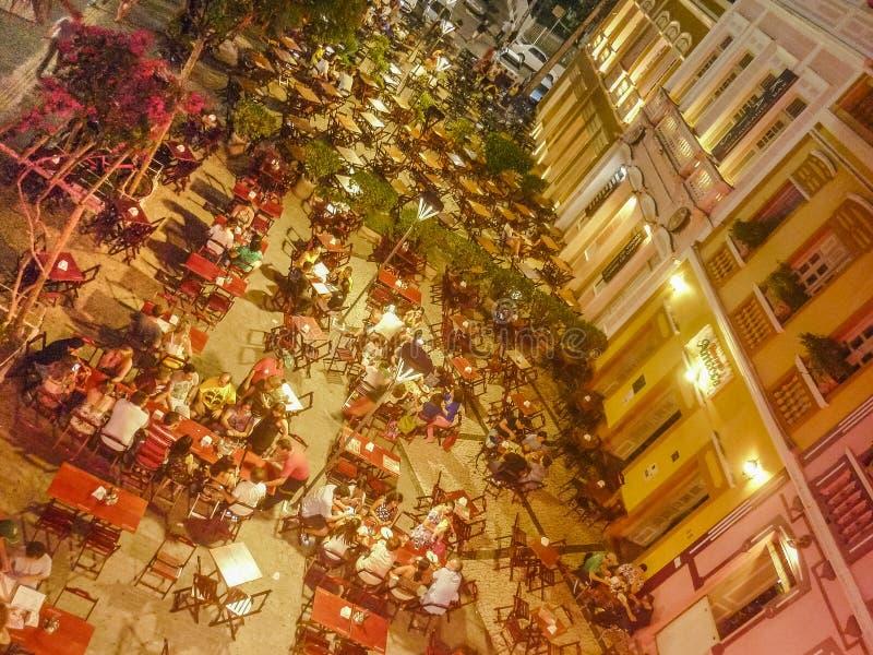 Restaurants at Historic Center Fortaleza Brazil. FORTALEZA, BRAZIL, DECEMBER - 2015 - High angle urban night shot of bars and restaurant at historic center of stock images