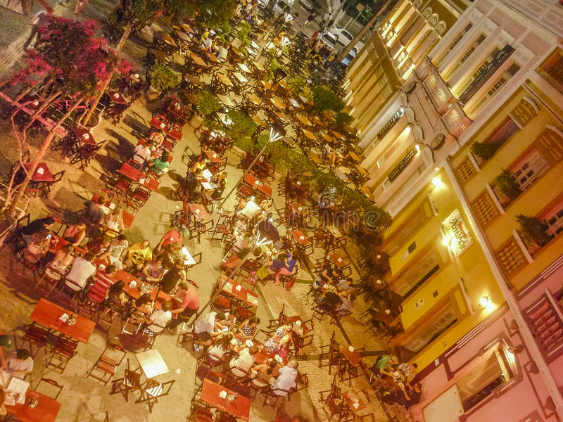Restaurants in historischem Mittel-Fortaleza Brasilien stockbilder