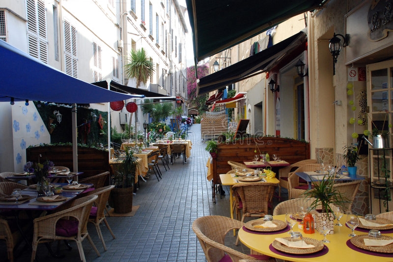 Restaurants in the provence. Restaurants in the french city Hyeres (provence royalty free stock image