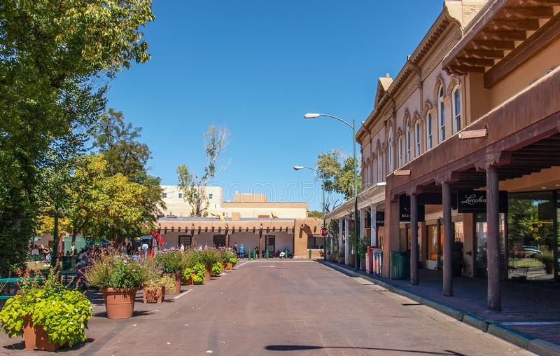 The Plaza in Santa Fe, New Mexico. Restaurants and shops surround the park in the plaza area in the historic district of Santa Fe, New Mexico royalty free stock images