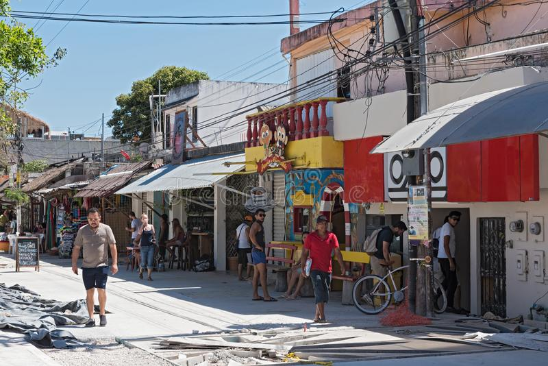 Restaurants and tourists on avenida tulum, tulum, quintana roo, mexico.  stock photos