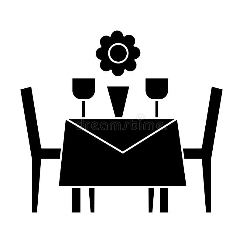 Restauranttabelle mit Stühlen Ikone, Vektorillustration, schwarzes Zeichen auf lokalisiertem Hintergrund stock abbildung