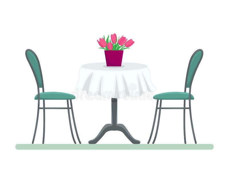 Restauranttabelle mit Stühlen und ein Blumenstrauß von Tulpen vektor abbildung