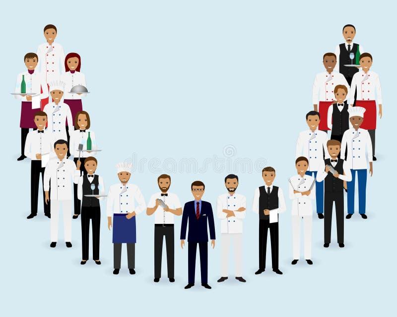 Restaurantteam Gruppe Managerchef-Kellnerbarmixer, die zusammen stehen stock abbildung