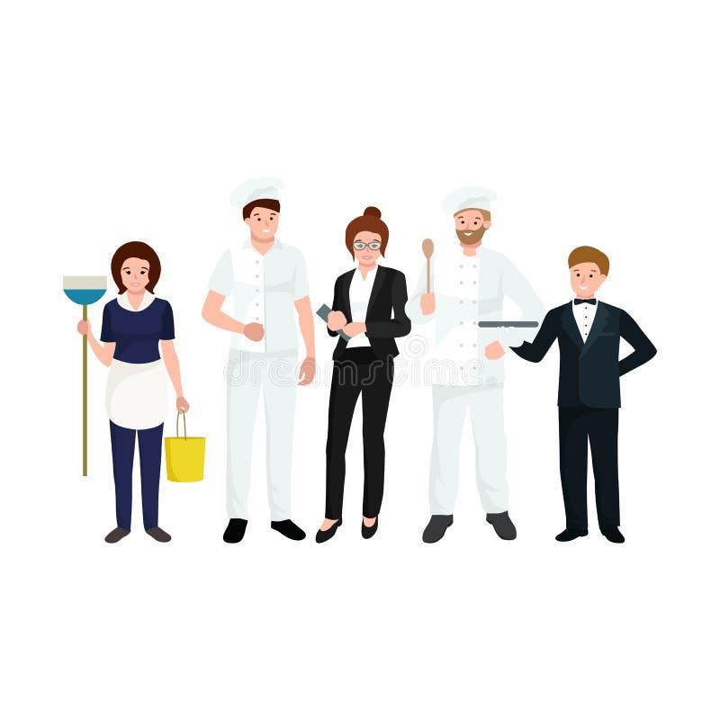 Restaurantteam, man kokende chef-kok, manager, kelner, schoonmaakster vector illustratie