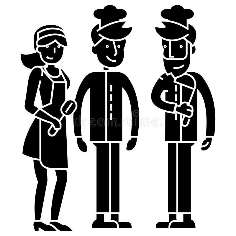 Restaurantteamarbeitskräfte, Kellner, Kocher Barmixerikone, Vektorillustration, Zeichen auf lokalisiertem Hintergrund lizenzfreie abbildung