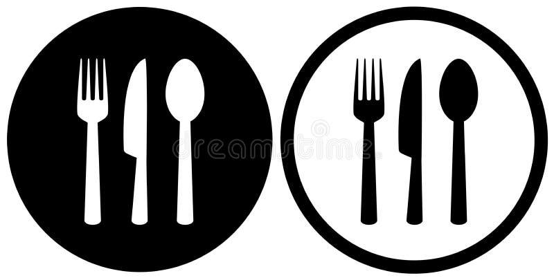 Restaurantteken met lepel, vork, messenpictogrammen royalty-vrije illustratie