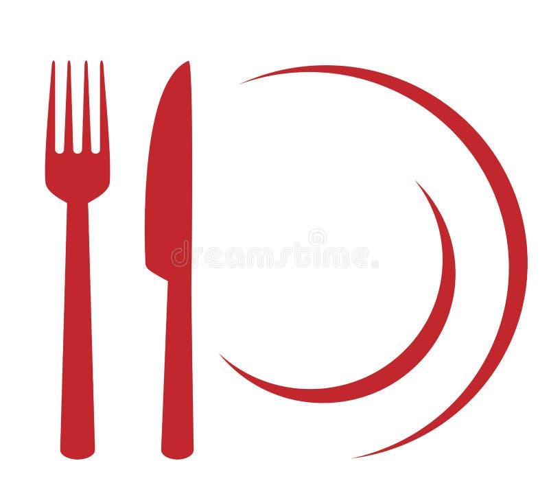 Restaurantteken met plaat, vork en mes vector illustratie