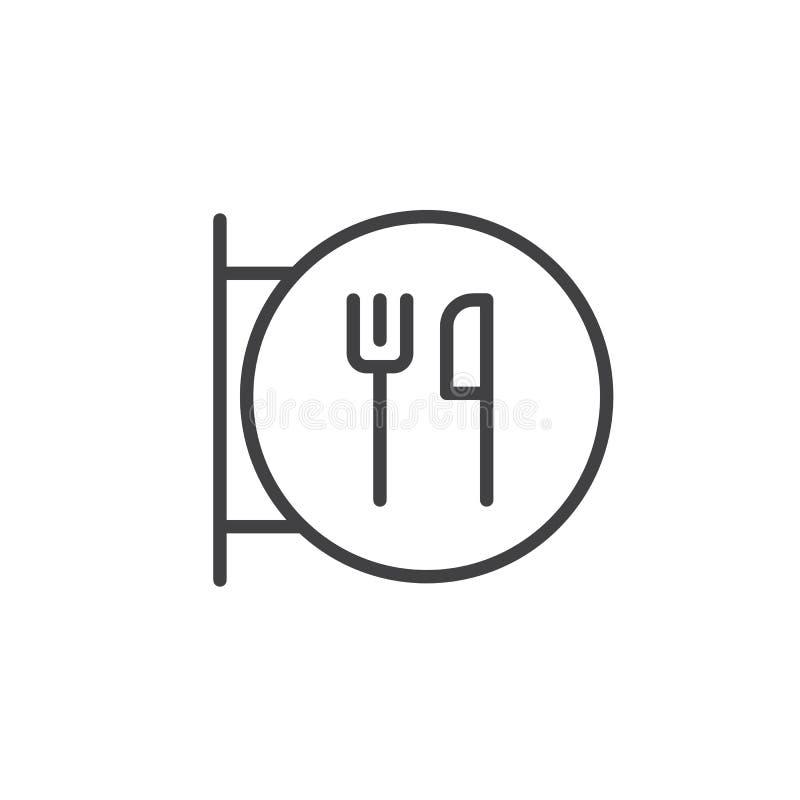 Restaurantteken met vork en messenlijnpictogram stock illustratie