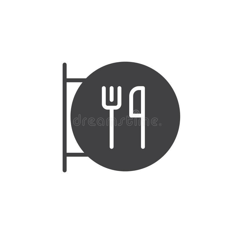 Restaurantteken met vork en messenpictogramvector royalty-vrije illustratie