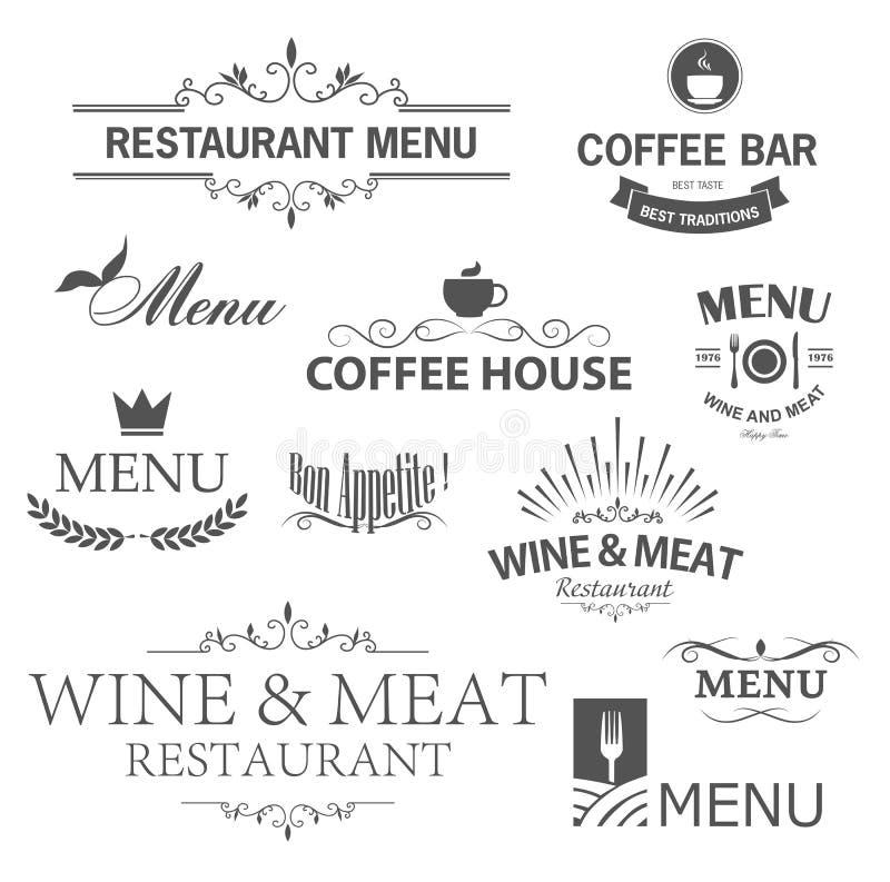 Restauranttekens royalty-vrije illustratie