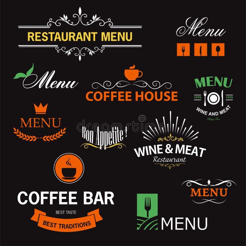 Restauranttekens vector illustratie