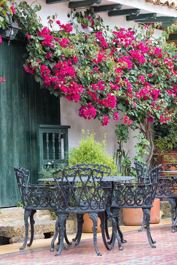 Restaurantterras in Villla DE Leyva Colombia royalty-vrije stock foto's