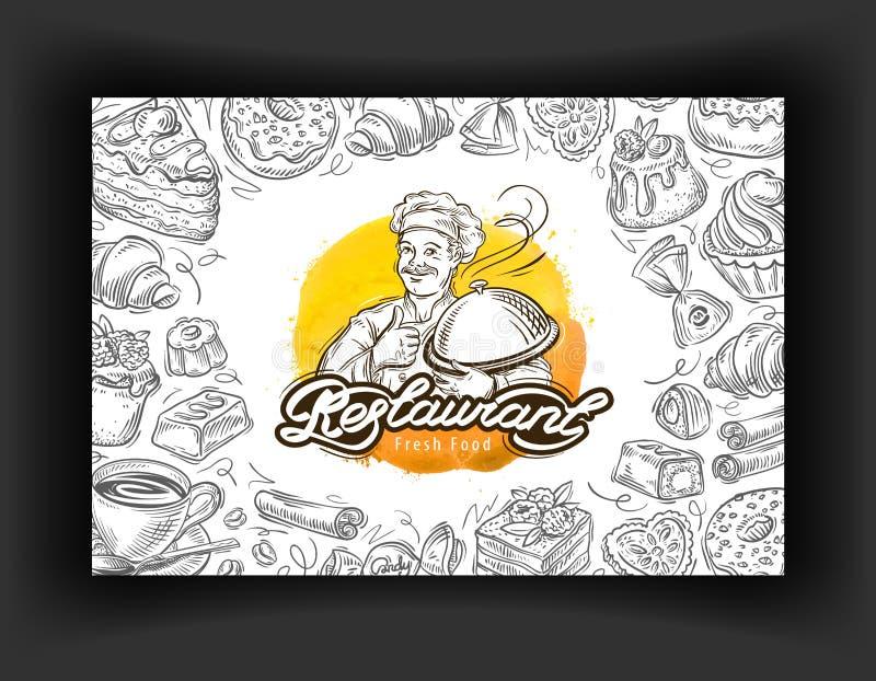 Restaurantvektorlogo-Designschablone Café-, Restaurant- oder Nachtischikonen vektor abbildung