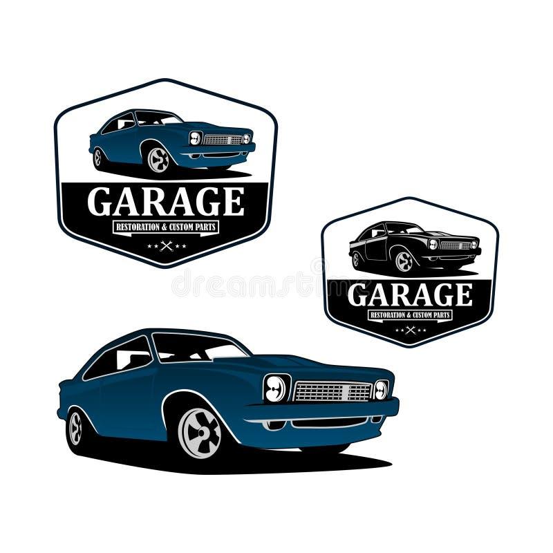 Restauration et vecteur fait sur commande de logo de voiture classique de garage illustration de vecteur
