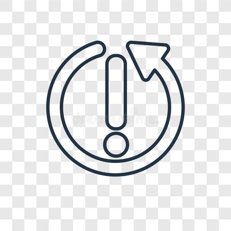 Restaure con el icono linear del vector del concepto de la exclamación aislado encendido ilustración del vector