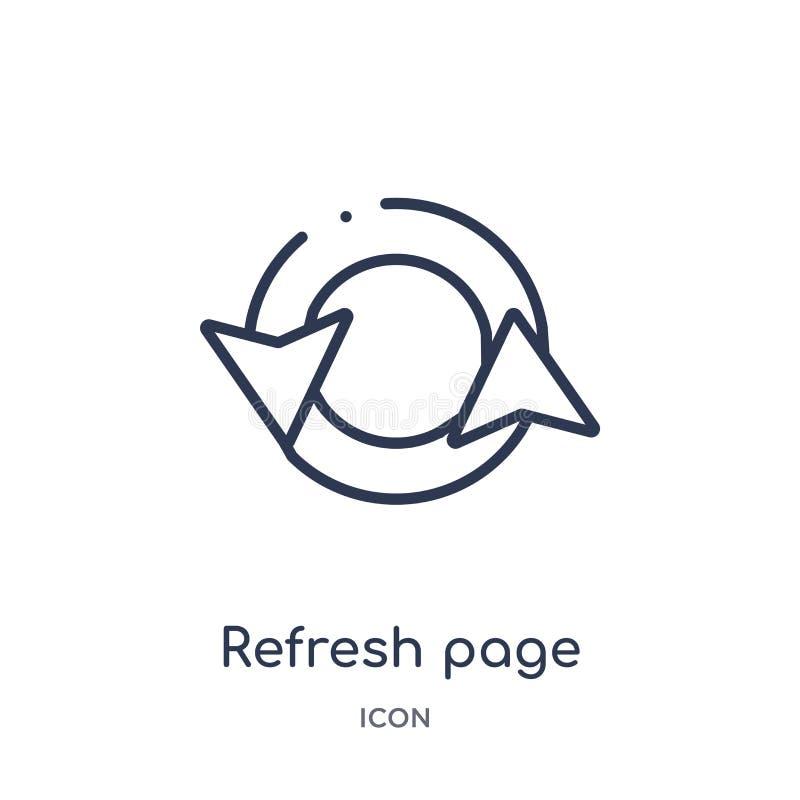 restaure el icono del botón de la flecha de la página de la colección del esquema de la interfaz de usuario La línea fina restaur ilustración del vector