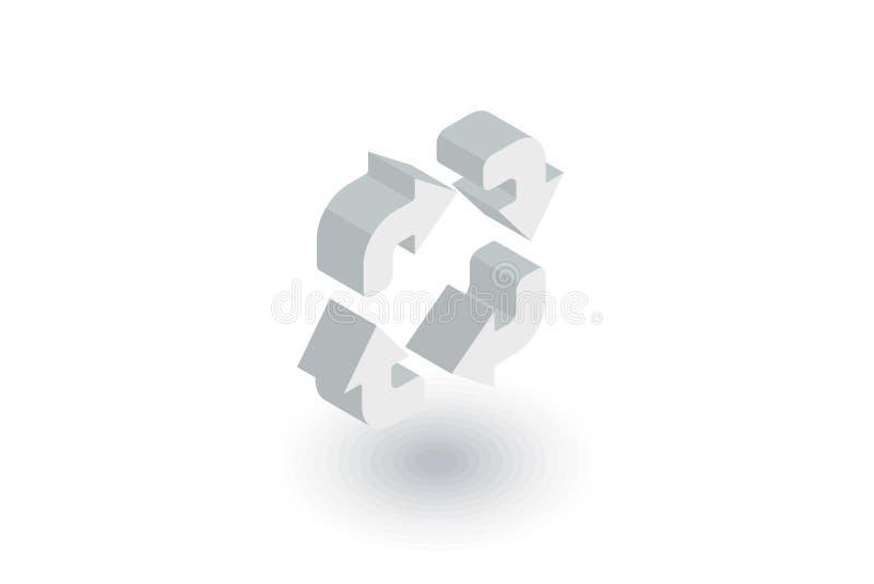 Restaure el icono plano isométrico de cuatro flechas vector 3d ilustración del vector