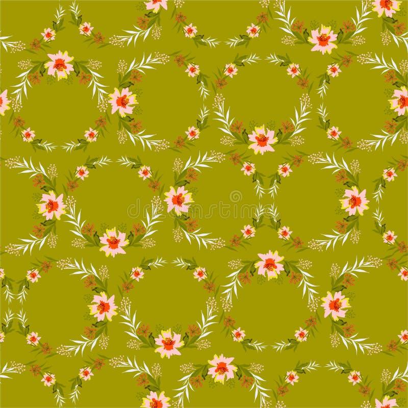 Restaure el modelo inconsútil del verano en forma del círculo Flores rosadas botánicas de la guirnalda romántica con las hojas en ilustración del vector