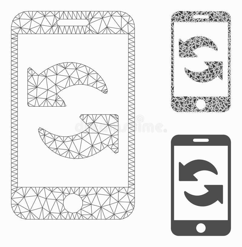 Restaure el vector Mesh Wire Frame Model de Smartphone y el icono del mosaico del triángulo ilustración del vector