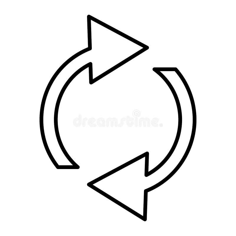 Restaure la línea fina icono Ejemplo del vector de las flechas de la rotación aislado en blanco Diseño del estilo del esquema de  ilustración del vector