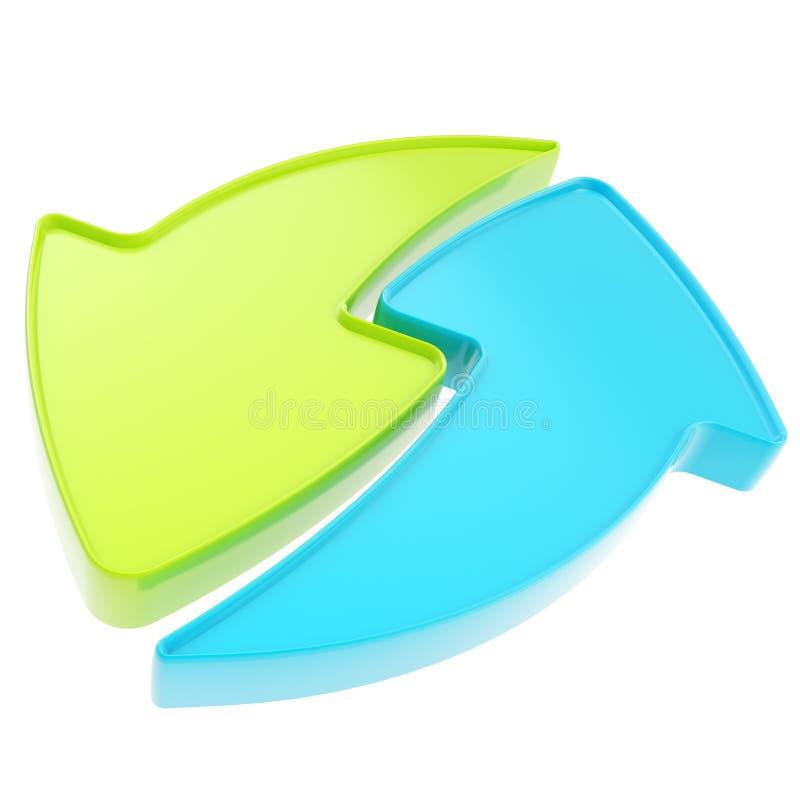 Restaure o recicle el icono del emblema de la flecha aislado stock de ilustración
