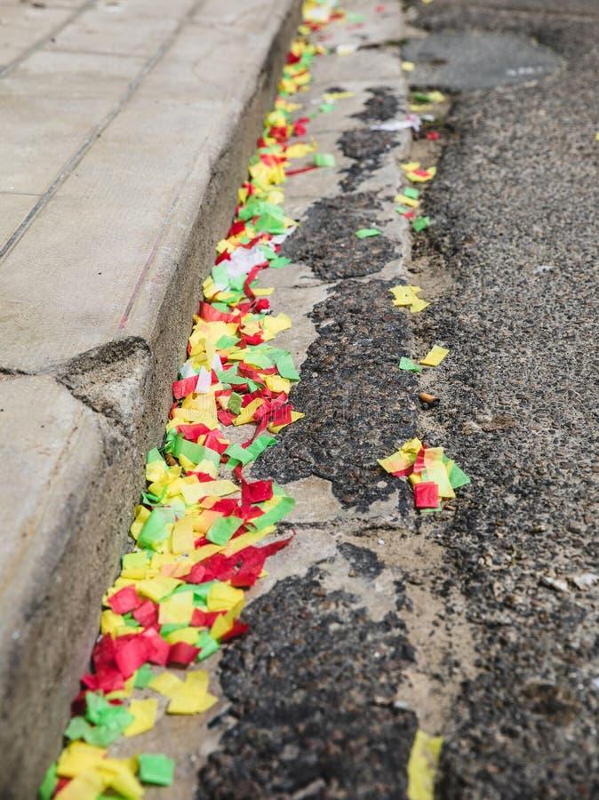 Reste de confettis après la partie photo libre de droits