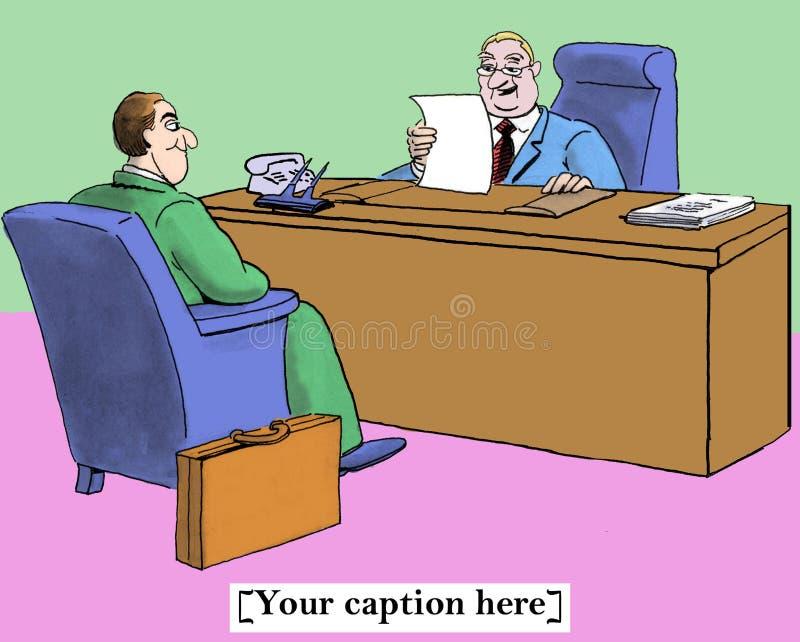 Reste upp en ny expertisuppsättning i intervju stock illustrationer