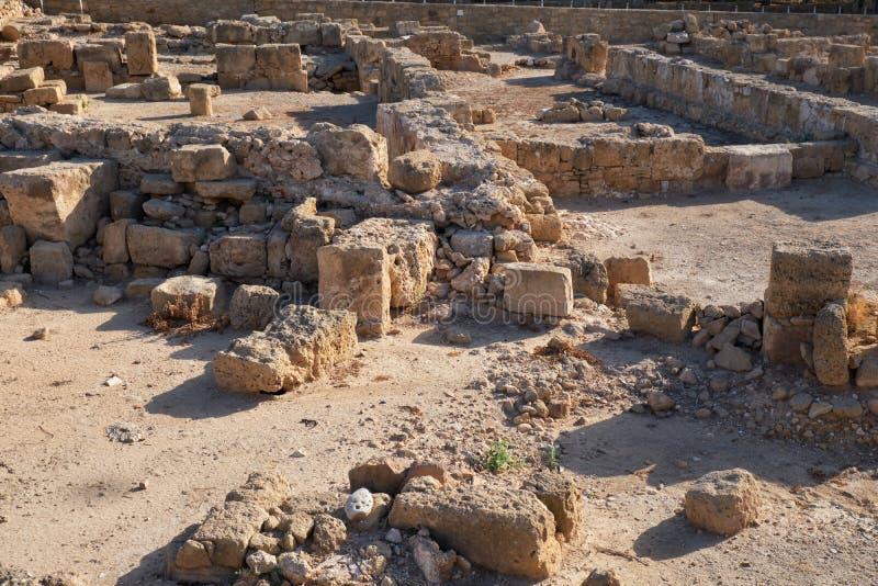 Resten av byn Paphos Archeological Park Cypern arkivbild